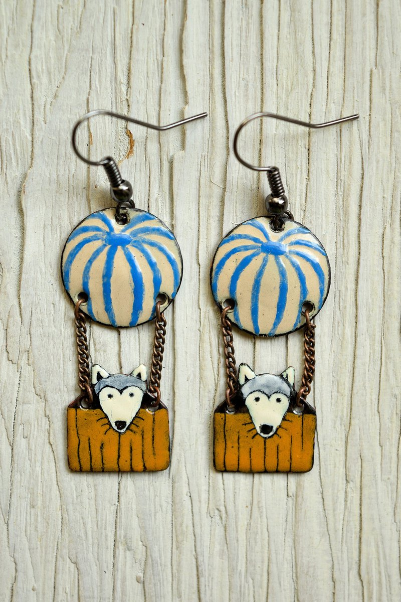 Dog Jewelry, Little Wolf Earrings, Enamel Earrings, Hot Air Balloon, Striped,