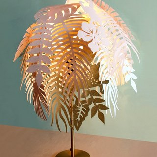 Tropical Jungle Island Lampshade/rose/golden/creamy white