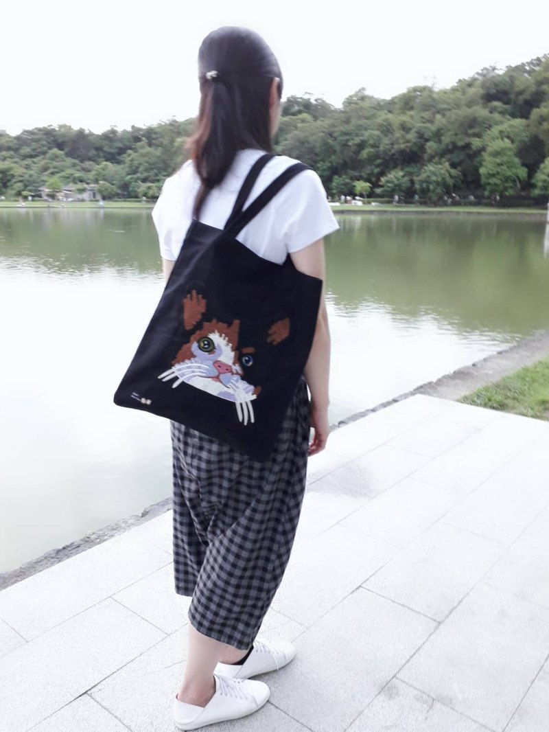 Cat Canvas Bag Shoulder Bag (Black)