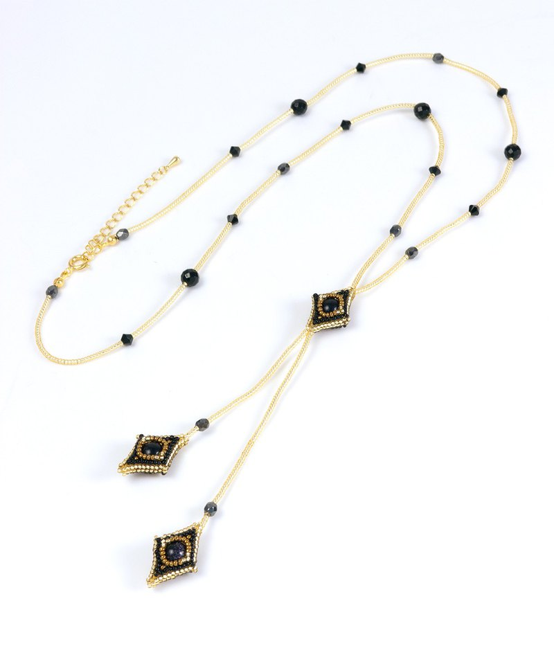 Black gold square long necklace, gold stone, beaded geometric, rhombic, 0802L