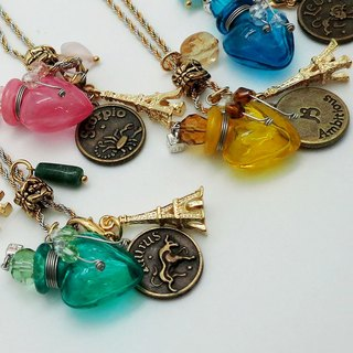 Diffuser Necklace Zodiac Signs with Oil Dropper Silver Gold Duo Color Chain