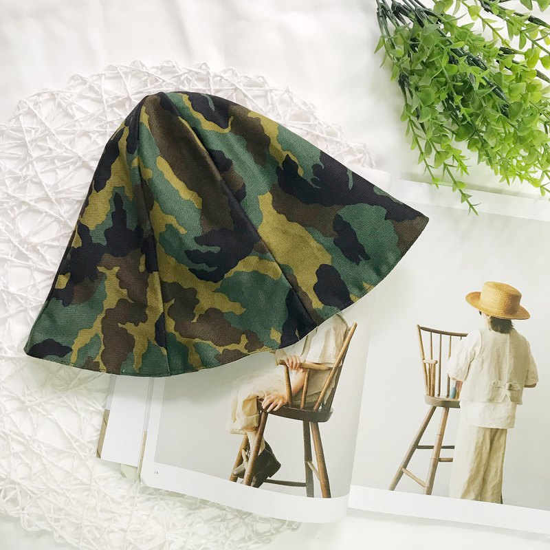 Army Green Camouflage Petal Cap Double-faced Cap Child Sun Hat