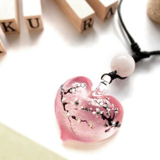 Glass Pendant Cherry Blossom (Sakura) Collection Heart Shape
