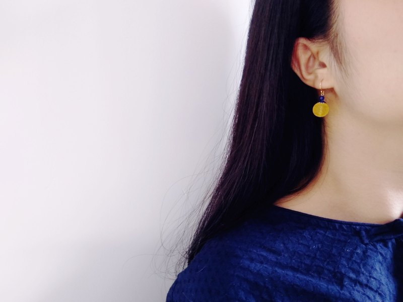 [pattern] Amber natural amber back beads mother's day gift retro earrings