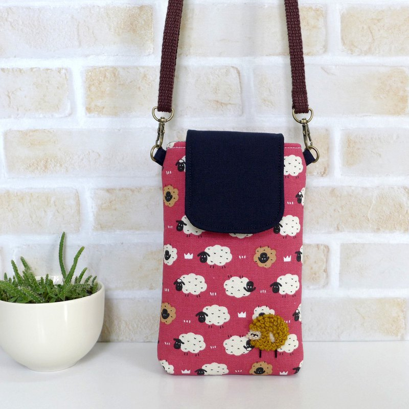 Embroidered Sheep Cell Phone Bag - Apricot Red Sheep