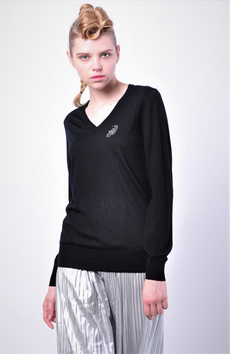 Original light and light base pure wool multi-color sweater