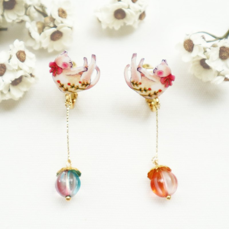 Cat and Garden Long Earrings