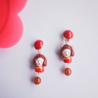 Clay hand made holiday holiday Christmas New Year red earrings