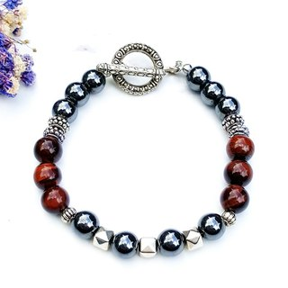 <Courage Light Wheel-Red Day>Red Tiger Eye Stone x Black Gallstone Bracelet Natural Stone Custom Exchange Gift