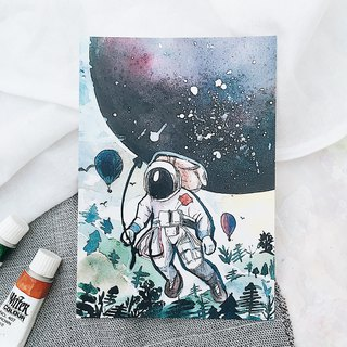Spaceman and his planet postcard