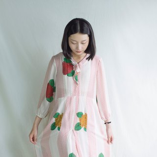 Temperament red yellow hydrangea flower vintage long-sleeved dress