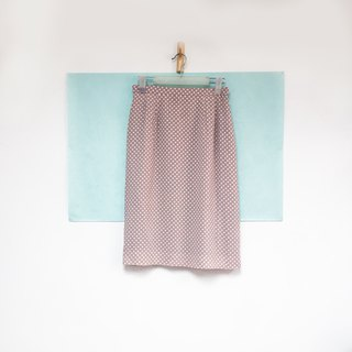 Skirt / Pink and White Polka Dots Straight Skirt