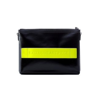 Black waterproof EAP clutch - fluorescent yellow cowhide