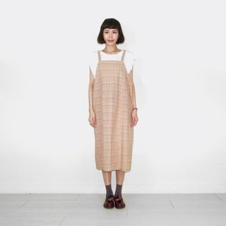 Orange brown plaid cotton vintage camisole long skirt BL6028