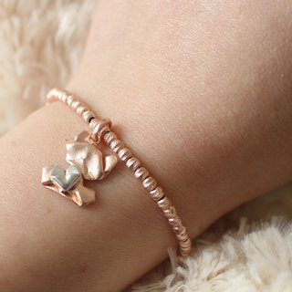 Bear My Love (Rose Gold / Matte Face) Sterling Silver Heart Charmed Bracelet in Sterling Silver