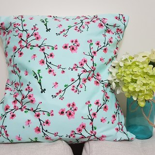 Pastoral style blue pink pink flower pattern pillow / pillow