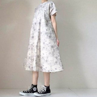 Lake dress dress Lake shore landscape Cotton linen short sleeve