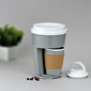Minimalist One Cup Filter Coffee Maker Machine incl Travel PP Mug – Grey