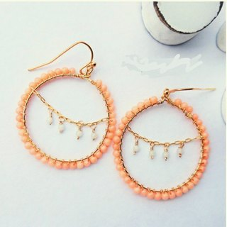 coral pink * chandelier wrapped pierce Mimiharishiki