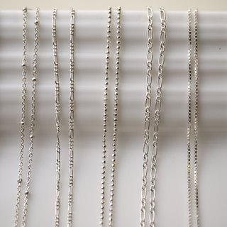 Ultra-Wild Basics - 925 Sterling Silver Necklace - Square Chain, Single Bead Chain, Section Chain
