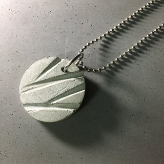 Concrete grooved round disc pendant with silver ball chain necklace