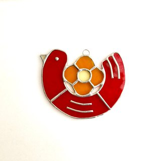 Stained glass sun catcher hatoco red