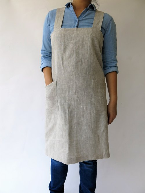 Pinafore Apron, Japanese Apron, 100% Linen Heavyweight, No Tie Apron - color MIX NATURAL