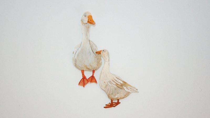 鵝 goose / 手繪胸針 / 一組兩件