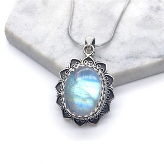 Moonlight stone 925 sterling silver oval heavy industry classical style necklace Nepal handmade mosaic production (style 2)