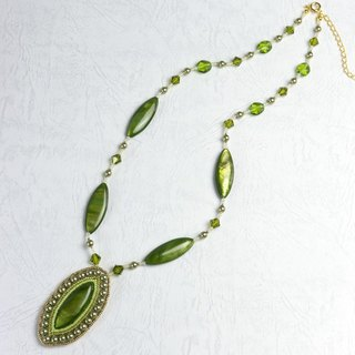 Green shell necklace, mother of pearl, swarovski pearls, elegant necklace for her, 1409
