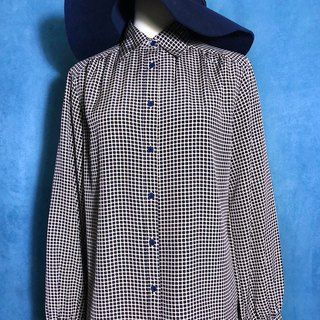 Blue dot check long-sleeved vintage shirt / brought back to VINTAGE abroad
