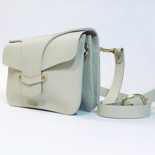 Beige leather purse/handbag/side backpack