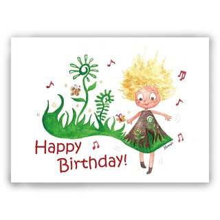 Hand drawn illustration Universal / birthday card / postcard / card / illustration card - birthday dance