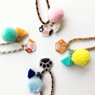 Meow - Style cat paw with tassel and ball of yarn bracelet
