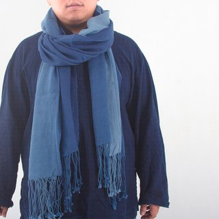 Zhuo also blue dyed - blue dyed wool flat weave scarf