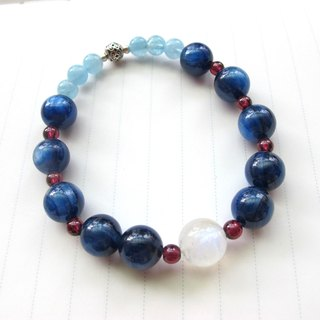 [Xi] kyanite x Moonstone x Aquamarine x red pomegranate (purple toothpaste) - hand-made natural stone series