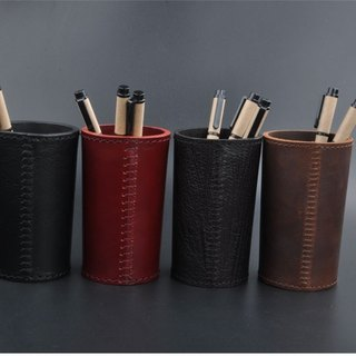 Hand-stitched leather pen holder
