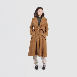 Cappuccino decorative button wool vintage coat