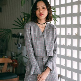 WARM GREY CHECK PLAID V NECK CROP TOP BLOUSE WITH FLARE LONG SLEEVE