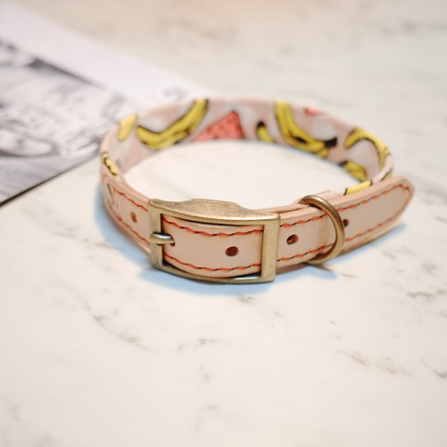 Dog collars, M size, Happy fruit party, watermelon_DCT090437