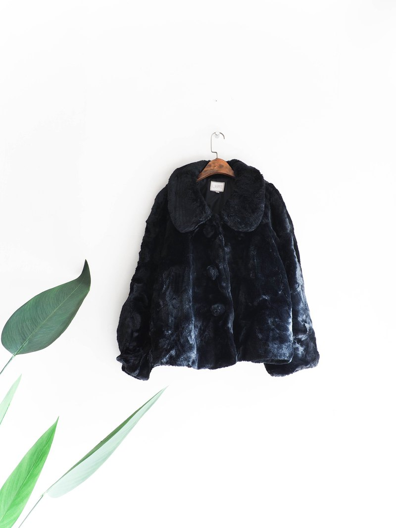 River Water Mountain - Kagoshima black black velvet love weekends antique faux fur coat Vintage vintage wool vintage overcoat