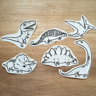 {139} like a series of big dinosaurs, empty blank stickers