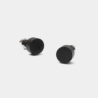 Recovery Round Earrings (Fog Black)