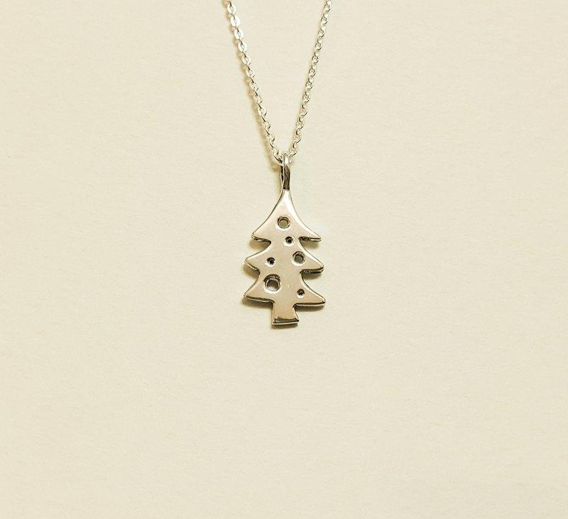 [聖誕節] 聖誕樹 純銀項鍊 手作 / 鎖骨鍊 / 禮物 / 紀念日/情人節