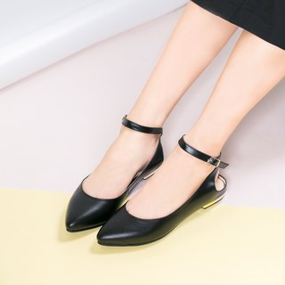 Pointed 踝 flat shoes _ black