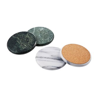 Natural marble coaster 【Gift boxed four into the group】 Tea ceremony accessories Round insulated cup care MIT 花莲制
