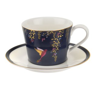 Sara Miller London for Portmeirion Chelsea Collection Tea Cup & Saucer - Navy