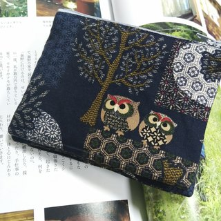 Dark Blue Japanese Owl Double Zipper Coin Purse Card Bag Storage Bag