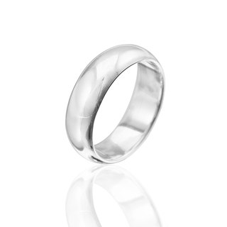 Simple plain sterling silver finger ring -7mm arc surface ring