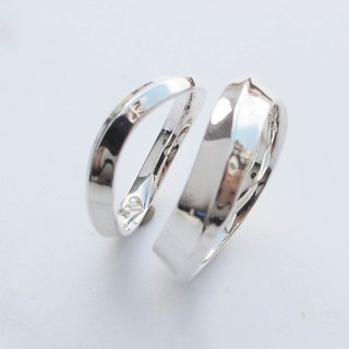 Big staff Taipa [couples ring] love promises sterling silver ring × white zircon couple ring (pair)